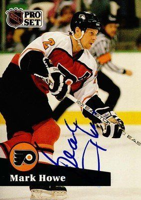 Mark Howe HOF Philadelphia Flyers Signed 1991-1992 Pro Set Card # 182 SL COA . $12.00. Philadelphia Flyers DefensemanMark HoweHand Signed 1991-1992Pro Set# 182 CardHowe Played For:Houston Aeros (WHA) 1973-1977New England Whalers (WHA) 1977-1979Hartford Whalers 1979-1982Philadelphia Flyers 1982-1992Detroit Red Wings 1992-1995Howe was inducted into the Hockey Hall of Fame in 2011.GREAT AUTHENTIC MARK HOWE HOCKEY COLLECTIBLE!!AUTOGRAPHS GUARANTEED AUTHENTIC BY SPOR...