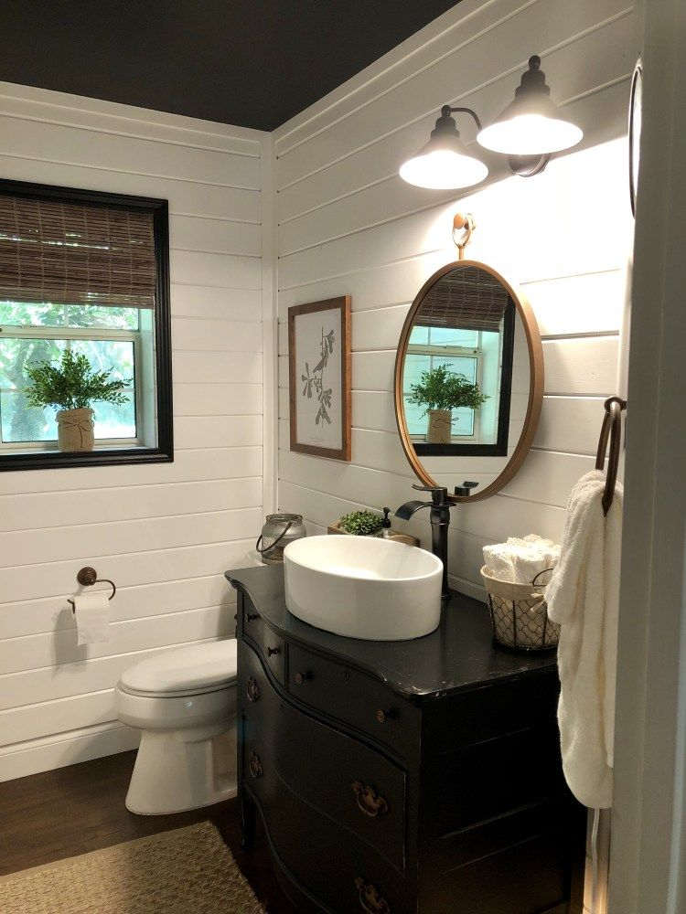 Modern Farmhouse Powder Room Reveal The Faux Farmhouse Modern