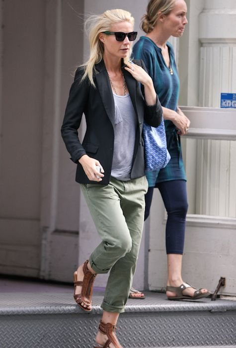 Who made Gwyneth Paltrow's blue purse, green pants and brown flat sandals  that she wore in New York? Goyard Pants – Current/Elliott The Captain  Trouser