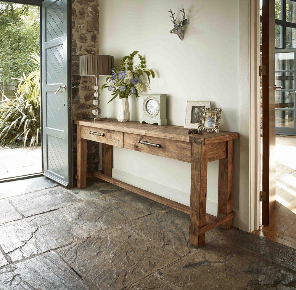 Country Reclaimed Solid Wood Farmhouse Console Table at