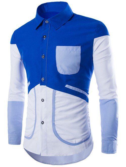 c526c9ba65aab Pocket Long Sleeve Color Block Splicing Design Shirt 10.70 USD Casual Shirts  For Men