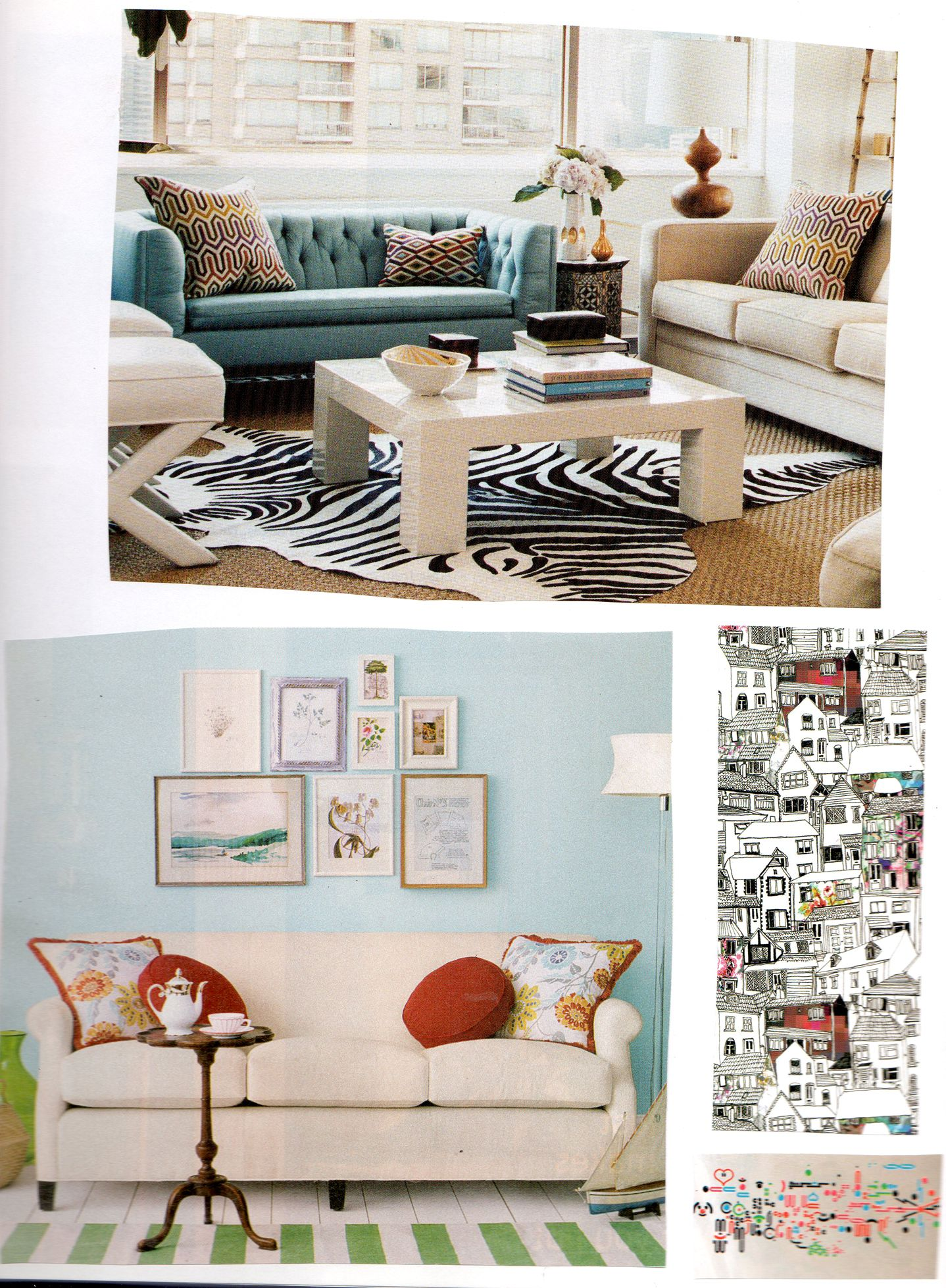 Teal Sofa Mismatched With Beige