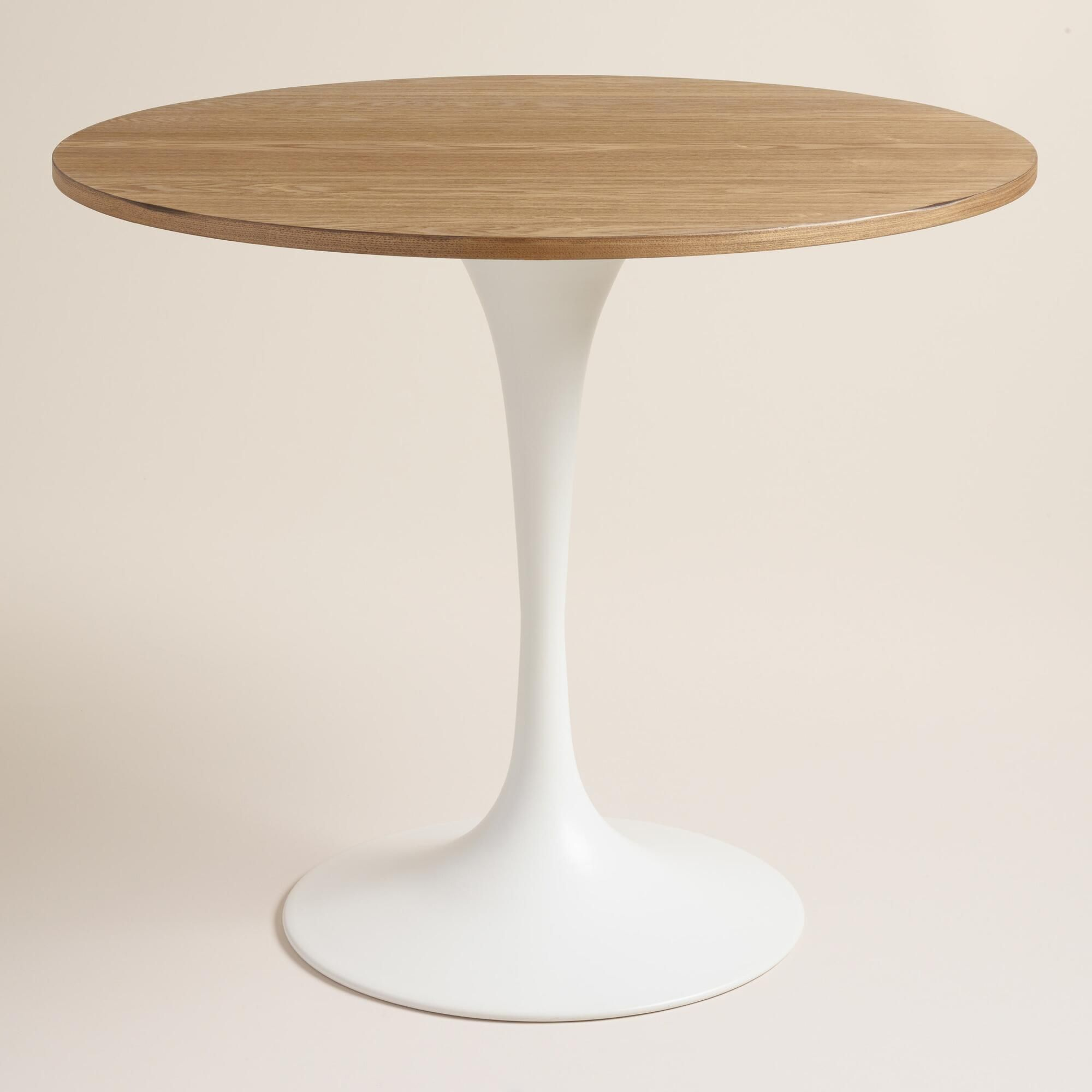 Wood And White Metal Leilani Tulip Dining Table Tulip Dining Table Rustic Dining Room Table Round Dining Table