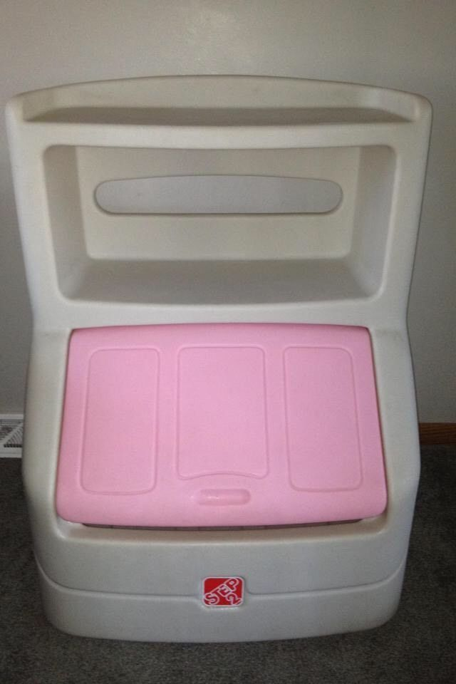 Step 2 Double Bookshelf Toy Box Chest Pink Lid