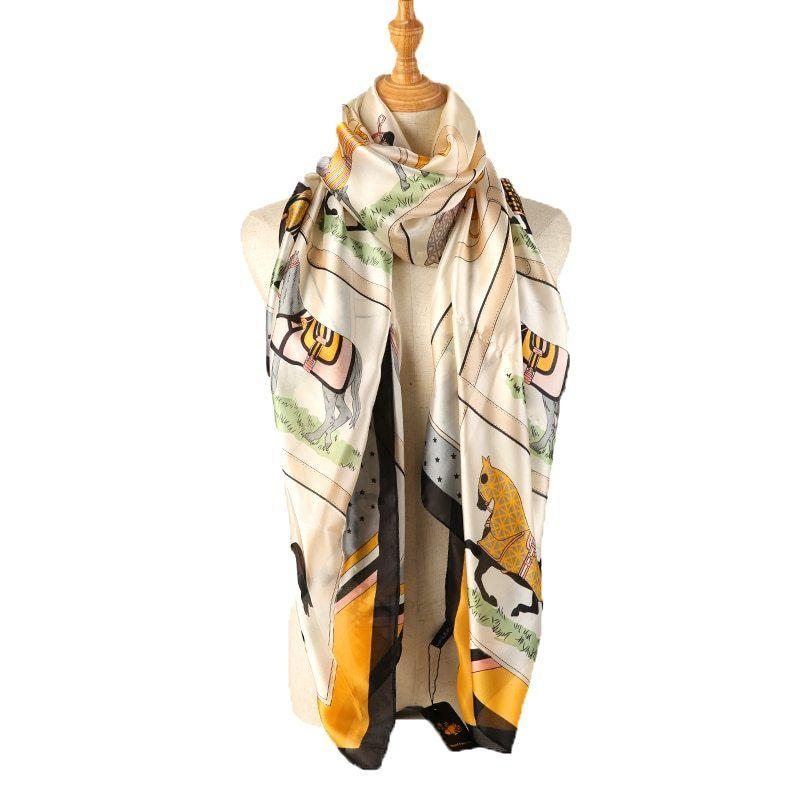 715be7cabce8b Black Blue Pink Horse Print Scarves And Shawl Ladies Silk Scarf Women  Fashion Sjaal Head Hijab