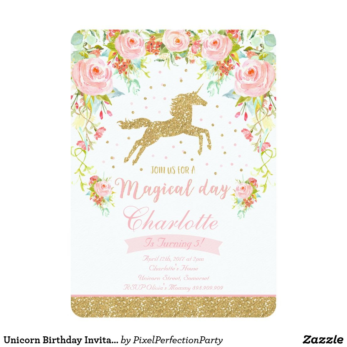 Unicorn birthday invitation pink gold unicorn unicrnio e aniversrio unicorn birthday invitation pink gold unicorn stopboris Images