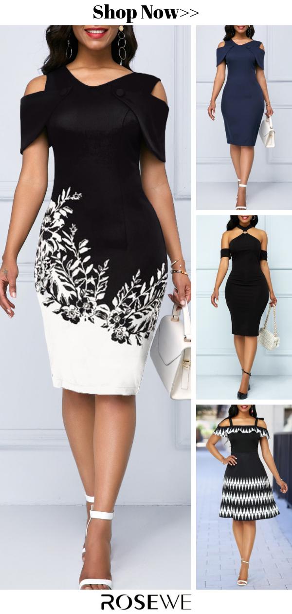 Hot Sale & Printed Cold Shoulder Short Sleeve Dress