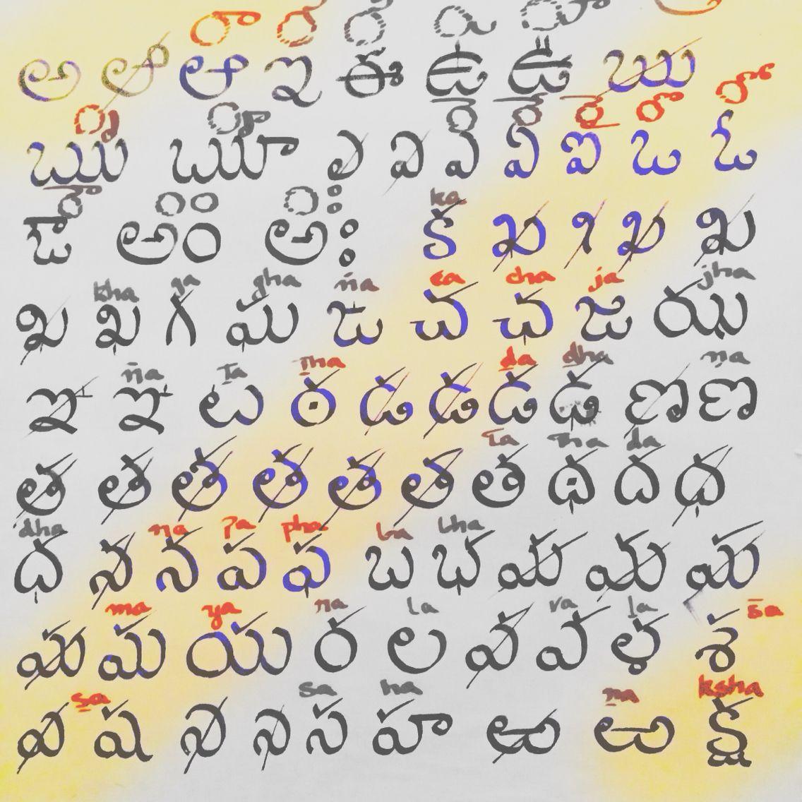 Telugu alphabet | Calligraphy: Bespoke | Calligraphy, Arabic