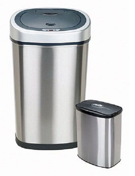 2 In 1 Combo Trash Can Motion Sensor Stainless Steel Garbage Waste