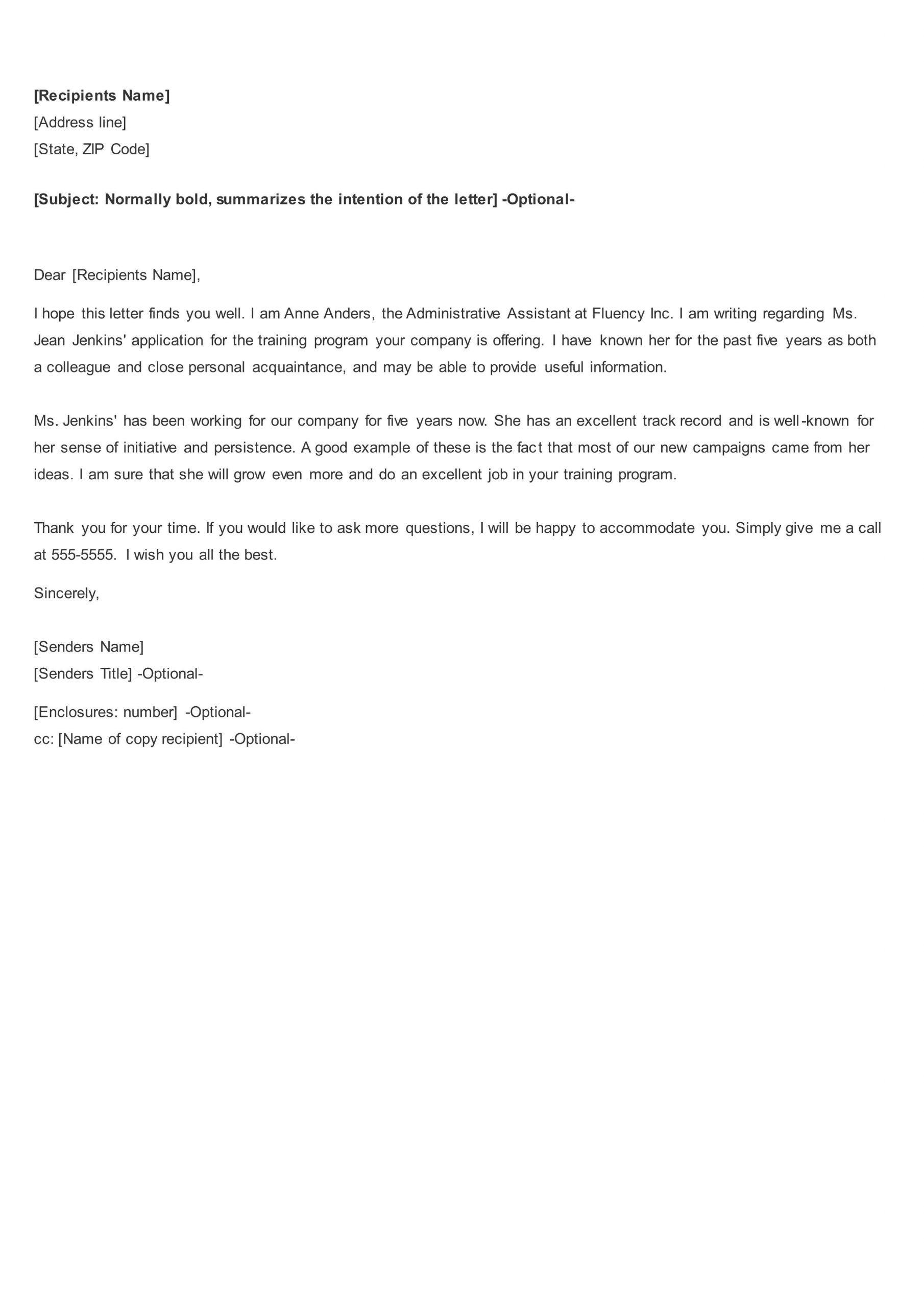 Counselor Recommendation Letter Sample Short recommendation letter for employee