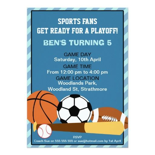 boys sports birthday party invitation sports birthday party