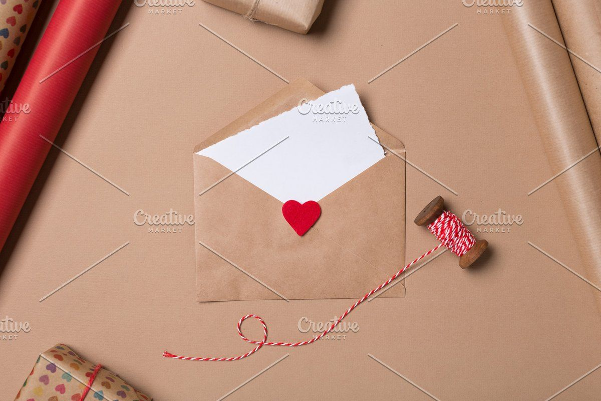 Photo of Craft envelope with blank paper #Sponsored , #affiliate, #heart#red#background#b…