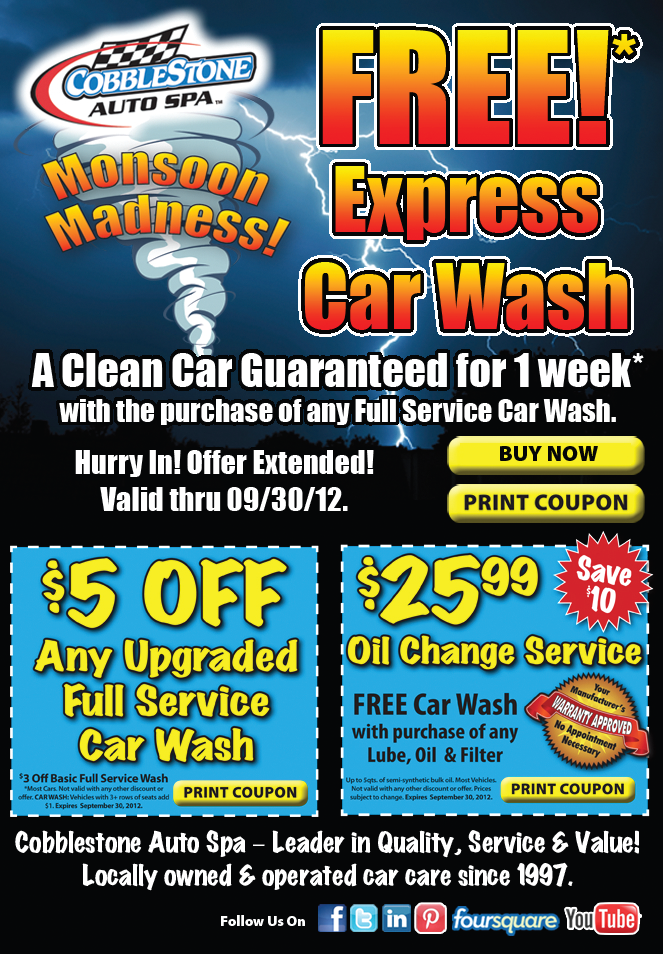 Monsoon Madness Extended! | Cobblestone Auto Spa COUPONS