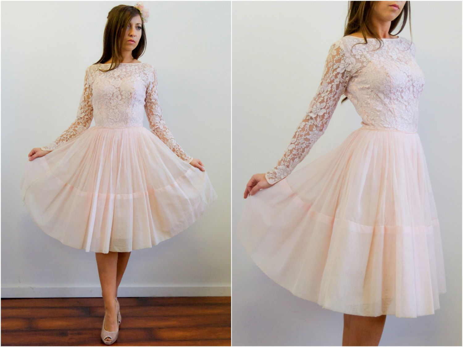 Vintage 1950s Pink Lace Dress // 1950s Prom Dress. $265.00, via ...