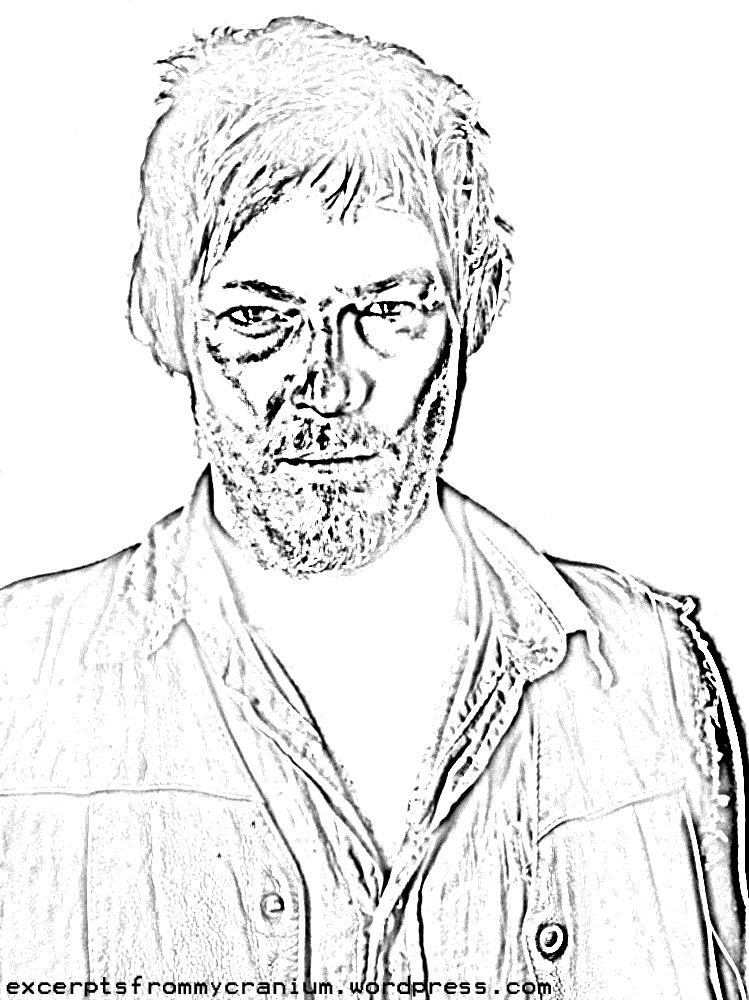 Activities Colouring Page Daryl The Walking Dead