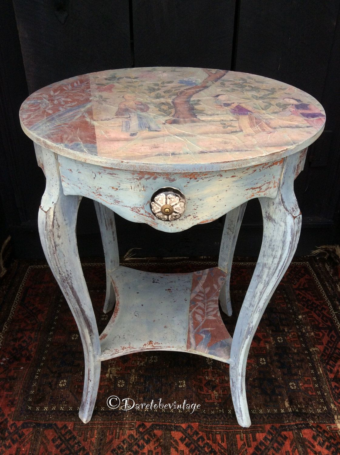 Painted furniture we repurpose this sweet vintage table for Hand painted oriental furniture