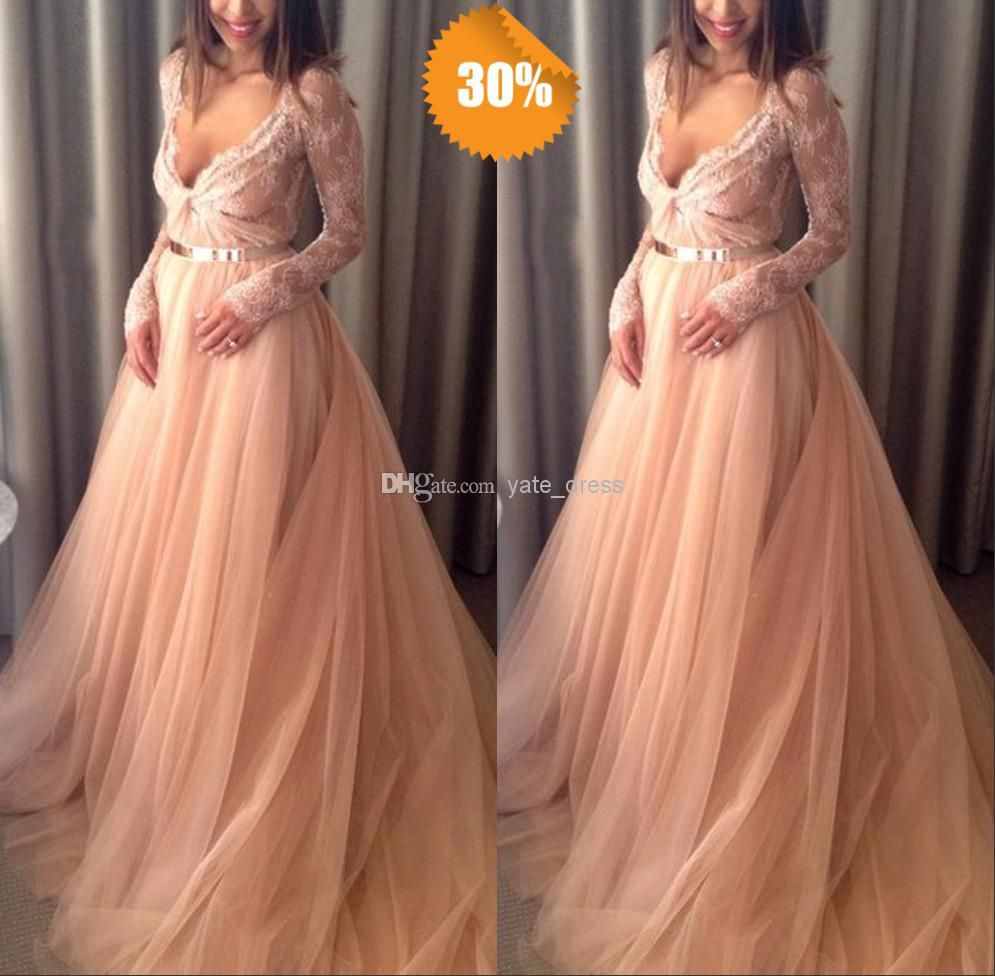 Wholesale Long Sleeve Prom Dress - Buy Sexy Stylle Fancy Formal Gown Sheer Long Sleeves Arabic Party Dress Appliques Ruffles with Sash Soft Lace Peach Puffy Prom/evening Dresses, $119.43 | DHgate