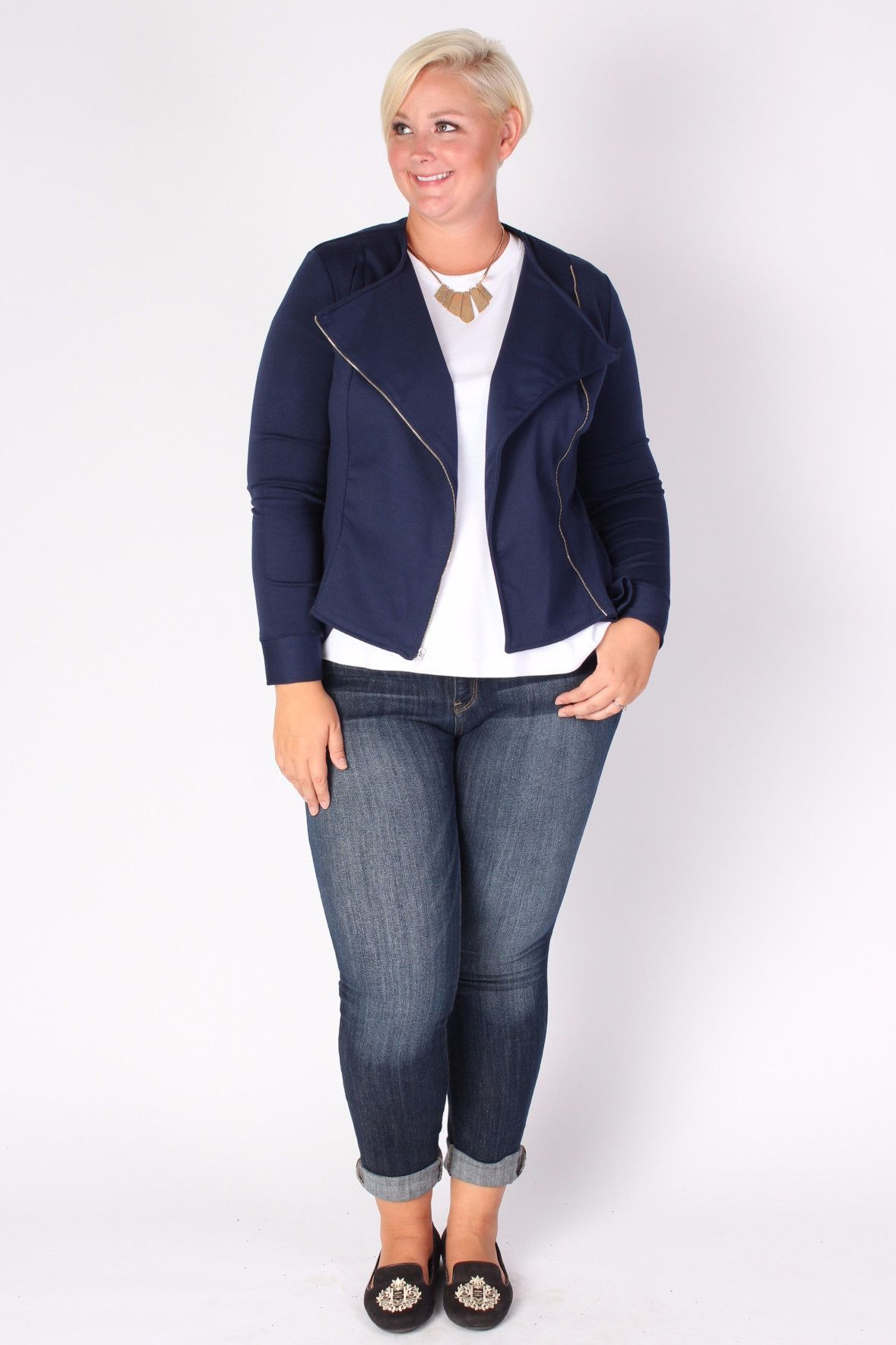 plus size clothing for women  posh zippered blazer  navy