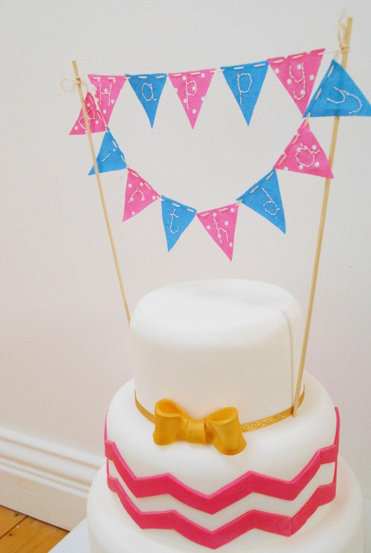 Handmade mini Happy Birthday cake bunting from Bellevue Bakery