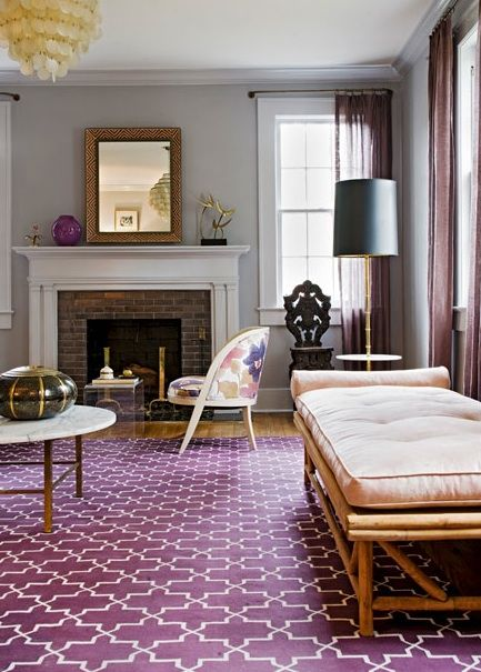 Angie Hranowski: Sweet Purple 7 Gray Living Room Design With Madeline  Weinrib Atelier Aubergine Brooke