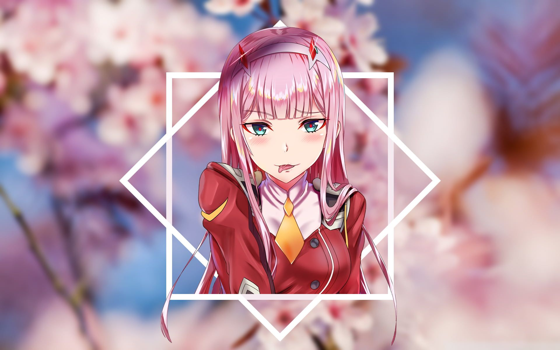 Zero Two Darling In The Franxx Code 002 Darling In The Franxx Sakura Tree Cherry Blossom 1080p Anime Computer Wallpaper Sakura Tree Darling In The Franxx