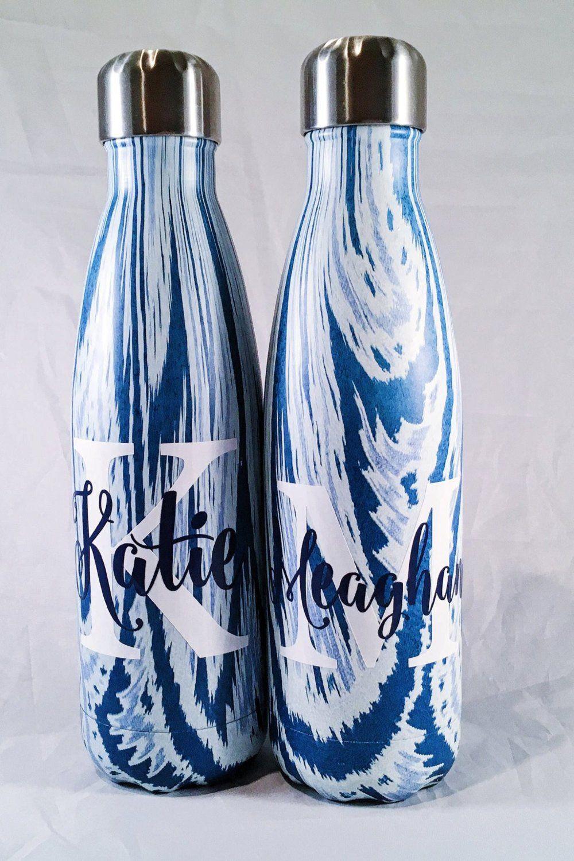 custom big initial and name s well bottle bridesmaids yoga