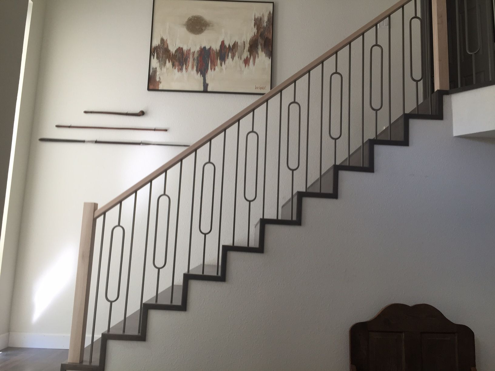 Best Oval Balusters With Plain Bars And 6002 Handrail Stair 400 x 300