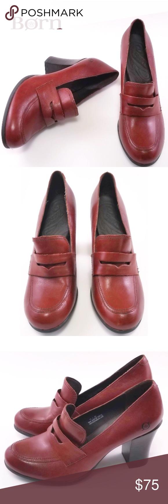 67e1e69fe2b Born Gail Block Heel Leather Penny Loafers Born Gail Block Heel Leather  Penny Loafers -Size