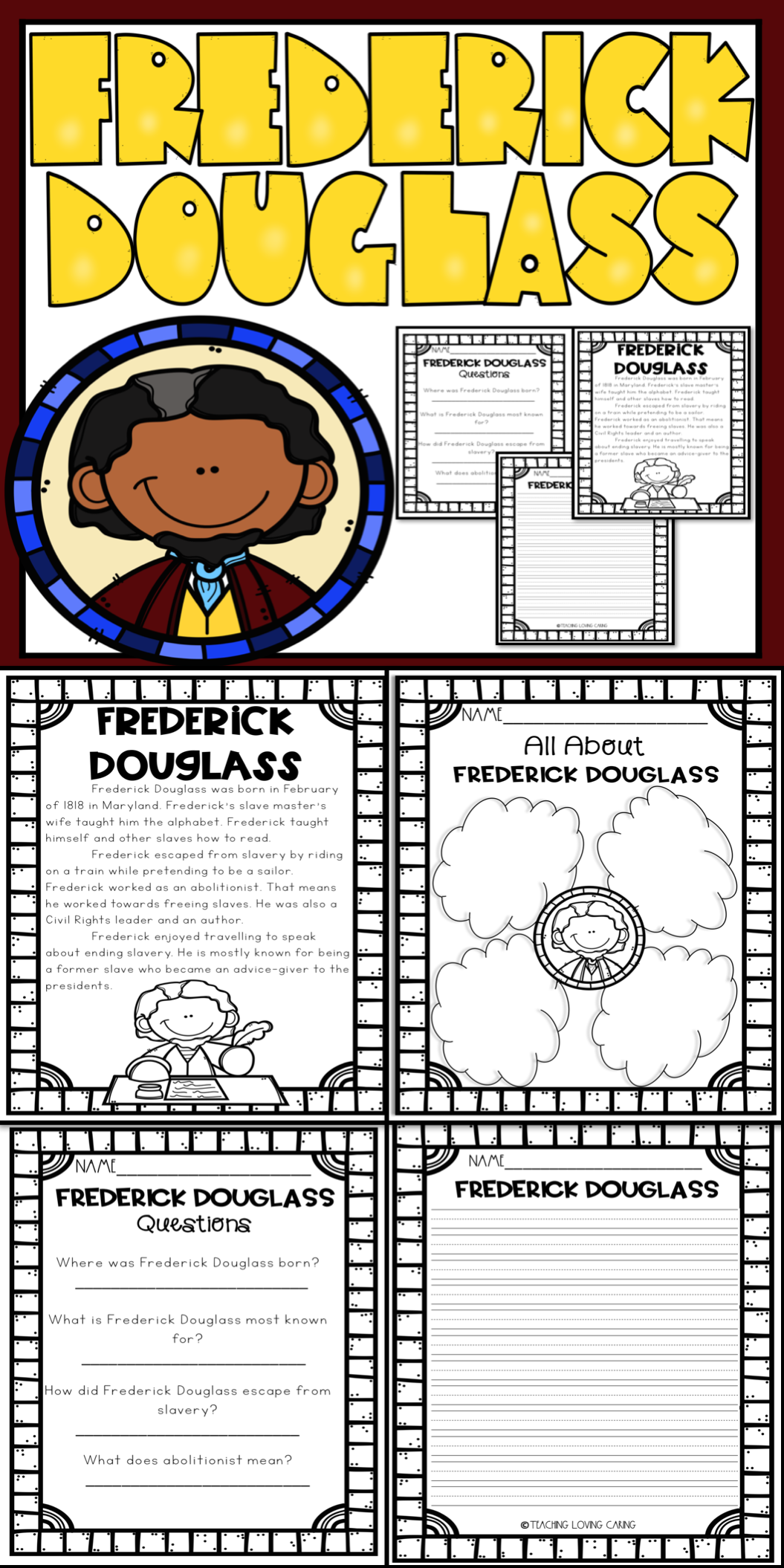 Frederick Douglass This African American History Activity Set Includes Ev African American History Activities History Activities Black History Month Projects [ 2110 x 1055 Pixel ]
