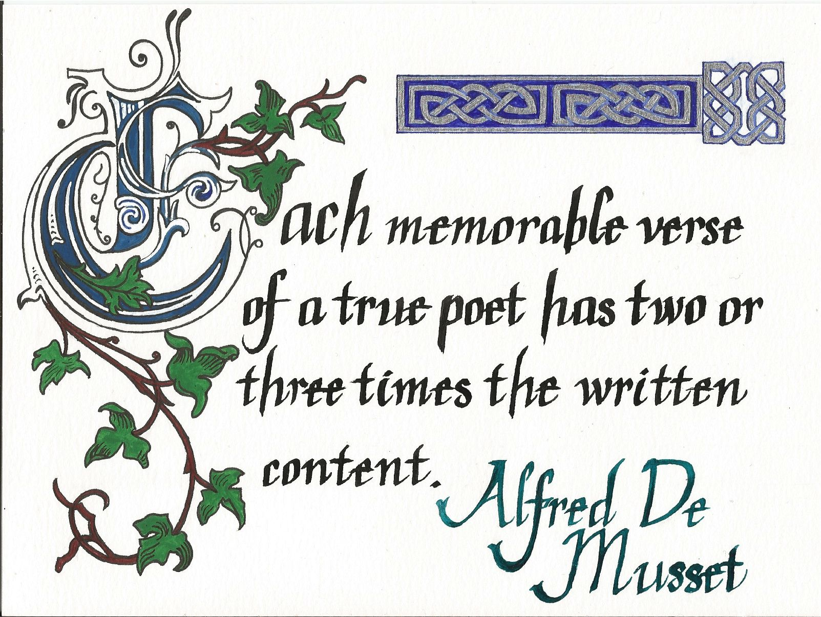 Calligraphy Musset quote