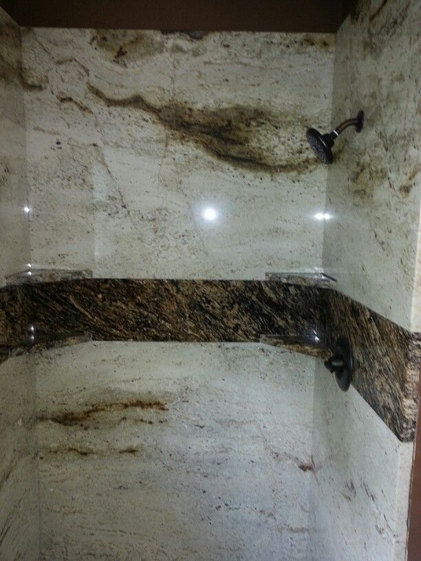 Granite Shower Walls..colonial Cream Granite Accented With Stormy Night  Granite.