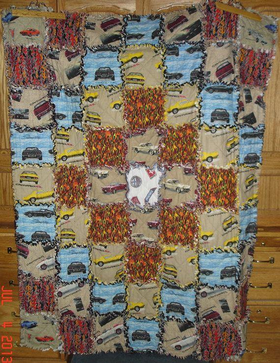 Muscle Car Cotton Flannel Rag Quilt Blanket Camaro Corvette Stingray