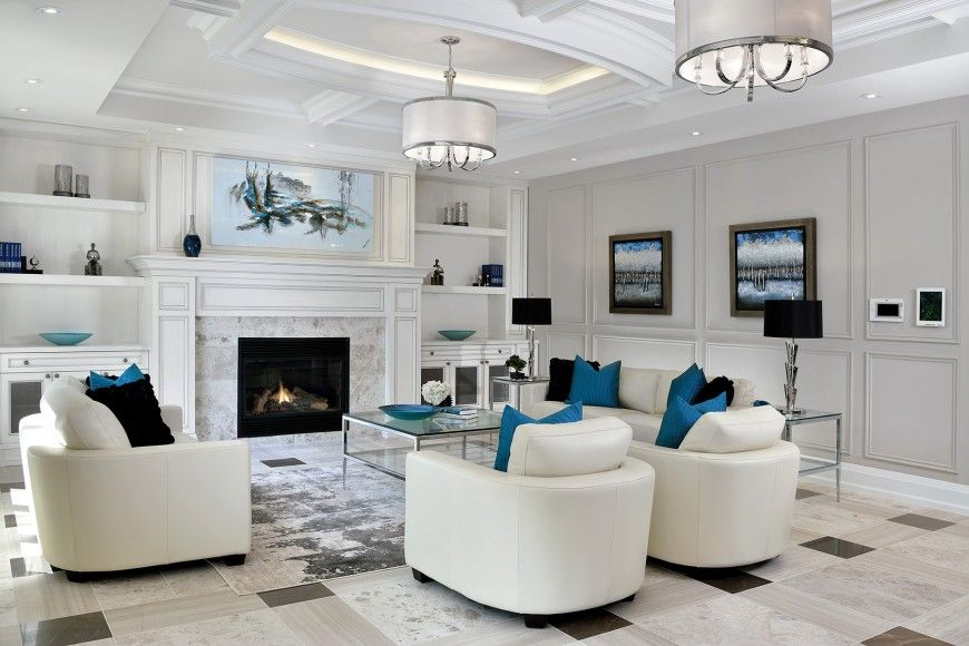500 Beautiful Living Rooms with Fireplaces of All Types White