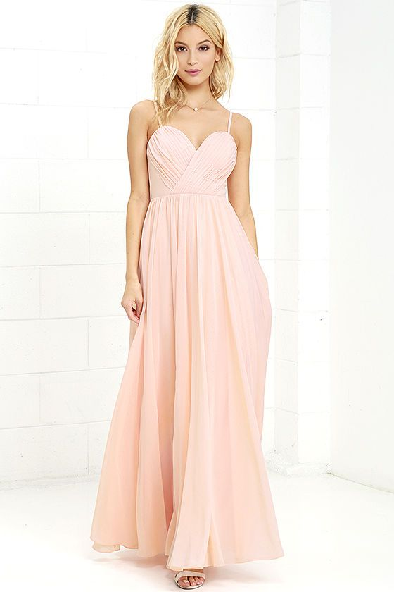 Putting On The Nod And Wink Peach Maxi Dress Is Start To Every Great Romance Adjule Spaghetti Straps Support A Gathered Surplice Bodice With