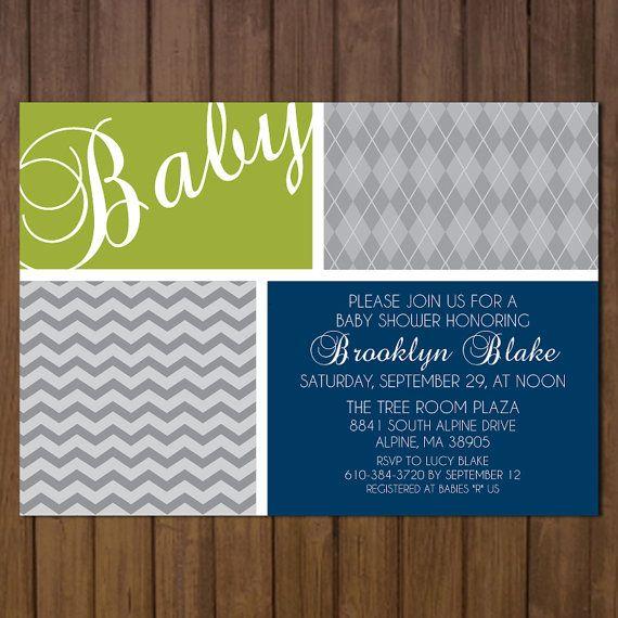 Printable Baby Boy Shower Invitation Blue Gray, Argyle and Chevron Stripes by BurlapAndBeauty, $13.00