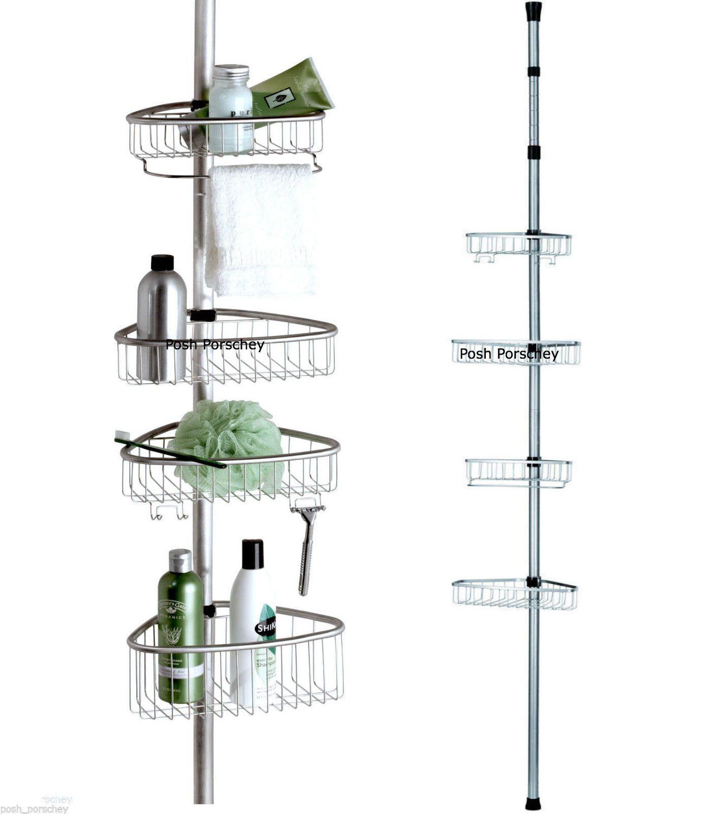 Buy 5 shelf solid teak corner shelf unit from bed bath amp beyond - Non Rust Bathroom Telescopic Corner Shelf Storage 4 Tier Shower Caddy Organiser Ebay