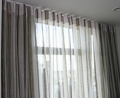 Sheer Voile Curtains With Ripplefold Heading And Blackout