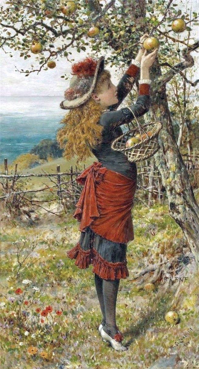 William Stephen Coleman (1829 -1904) —Picking Apples,1880 (650x1202)