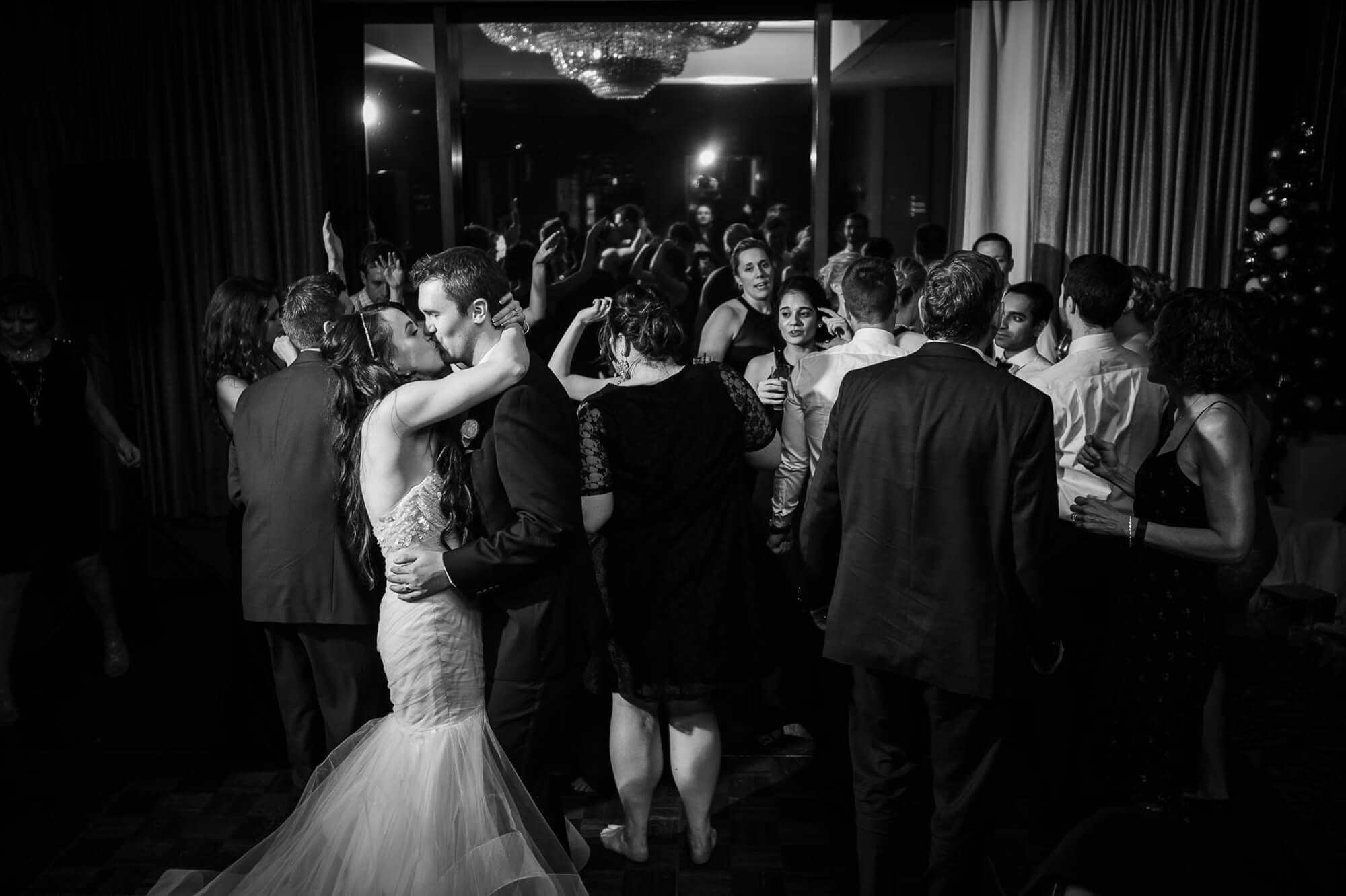 Park Hyatt Wedding Photography Toronto Bride And Groom Kiss Black White