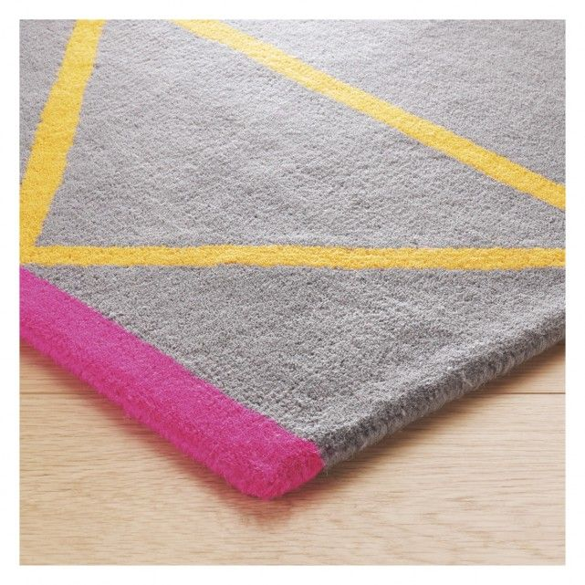 Grid Large Grey And Yellow Geometric Wool Rug 170 X 240cm
