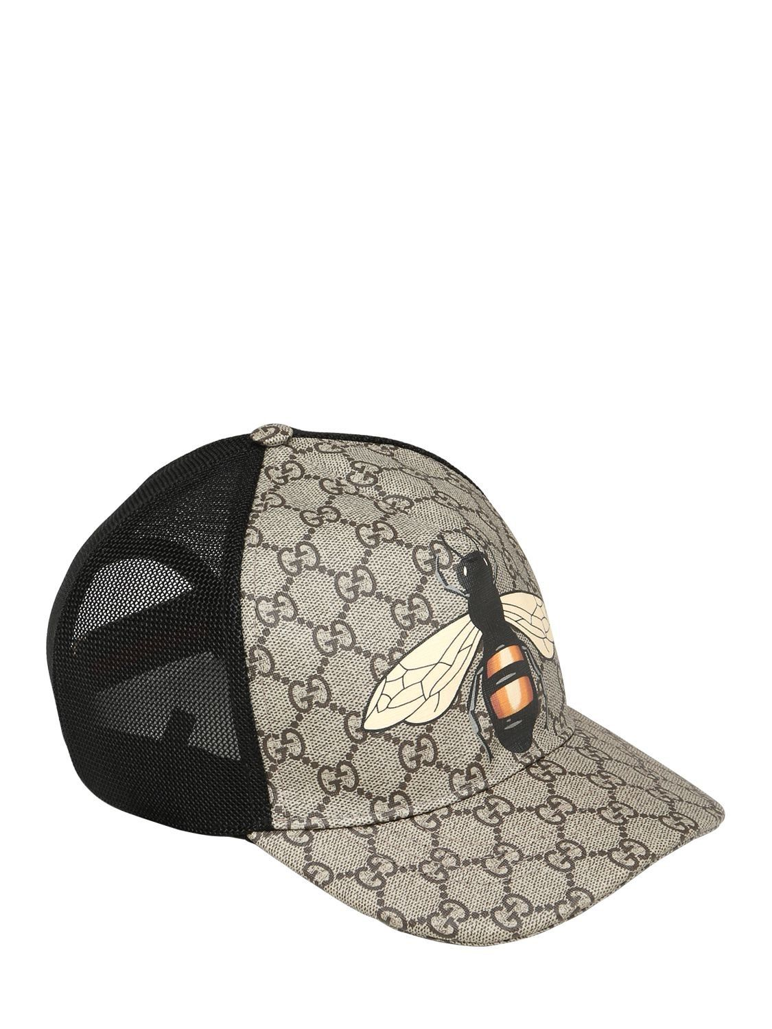 GUCCI BEE COATED GG CANVAS   MESH BASEBALL HAT.  gucci    725294bdc58