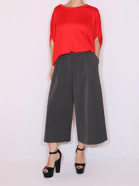 ce7c11df1f1ce Dark gray culottes High waist Wide leg pants Wool pants with