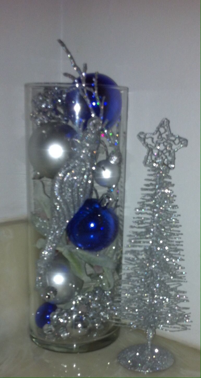 Christmas Holiday Glass Jar Blue Silver Pearl Coral Decoration Ornament Centerpiece Silver Holiday Decor Silver Christmas Decorations Blue Christmas Decor