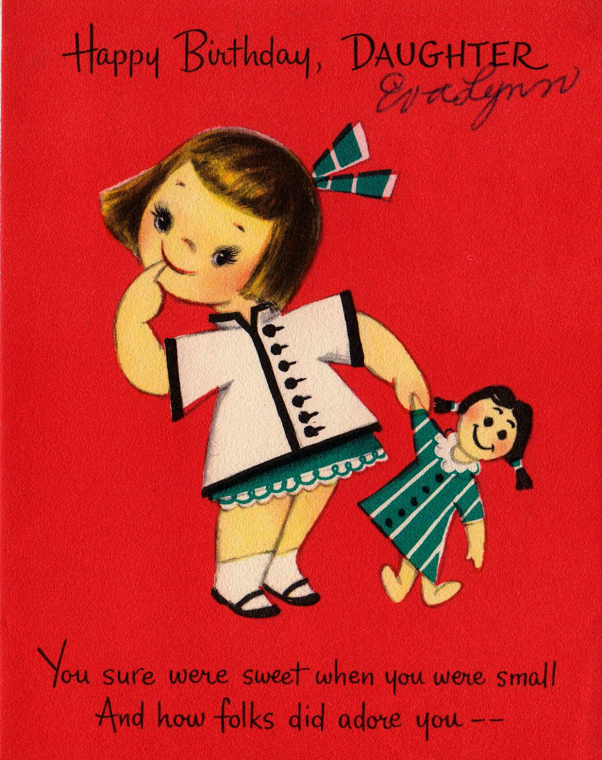 Vintage Hallmark 1950s Happy Birthday Daughter Greetings Card
