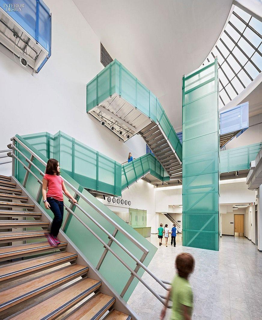 Big Ideas Davis Brody Bond Turns An Operating Theater Into A School For Gifted Kids Interior Design School Atrium Design Staircase Design