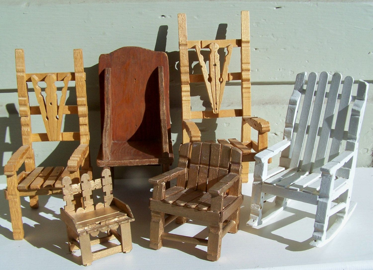 Vintage Collectible , Outsider Art Handmade Chairs Clothes Pin Crafting Tramp Art Doll Sized Chairs. $42.00, via Etsy.