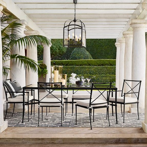 White Classic Pergola With Hanging Lantern   Cortland Outdoor Dining Table  | Williams Sonoma