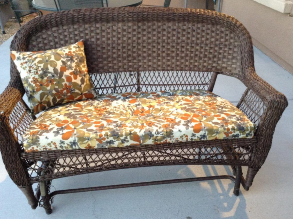 Awesome Floral Patterned Cushions Sets Combined Brown Stained Woven Outdoor  Love Seat With Outdoor Replacement Chair Cushions And Outdoor Patio Chair  ...