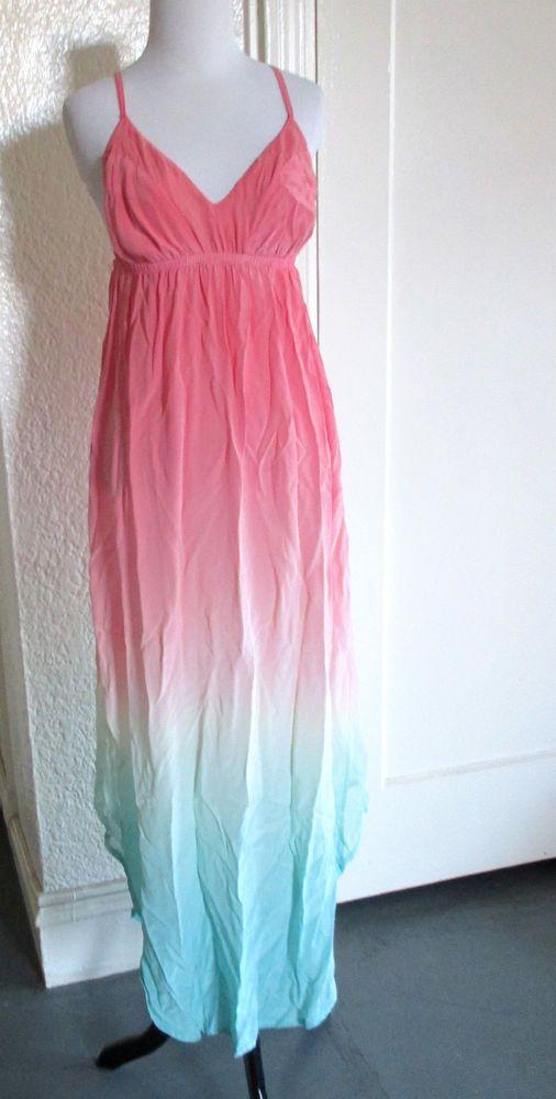8a03239303c Gypsy05 Ombre Pastel Rainbow Hippie Boho Silk Asymmetric Maxi Dress S   Gypsy05  Maxi