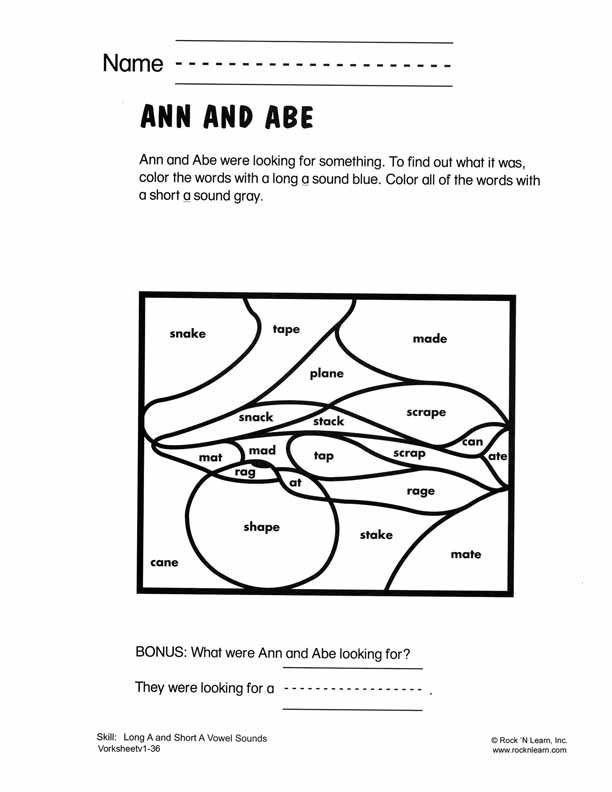 Long A And Short A Vowel Sounds Free Phonics Worksheet Fab Five